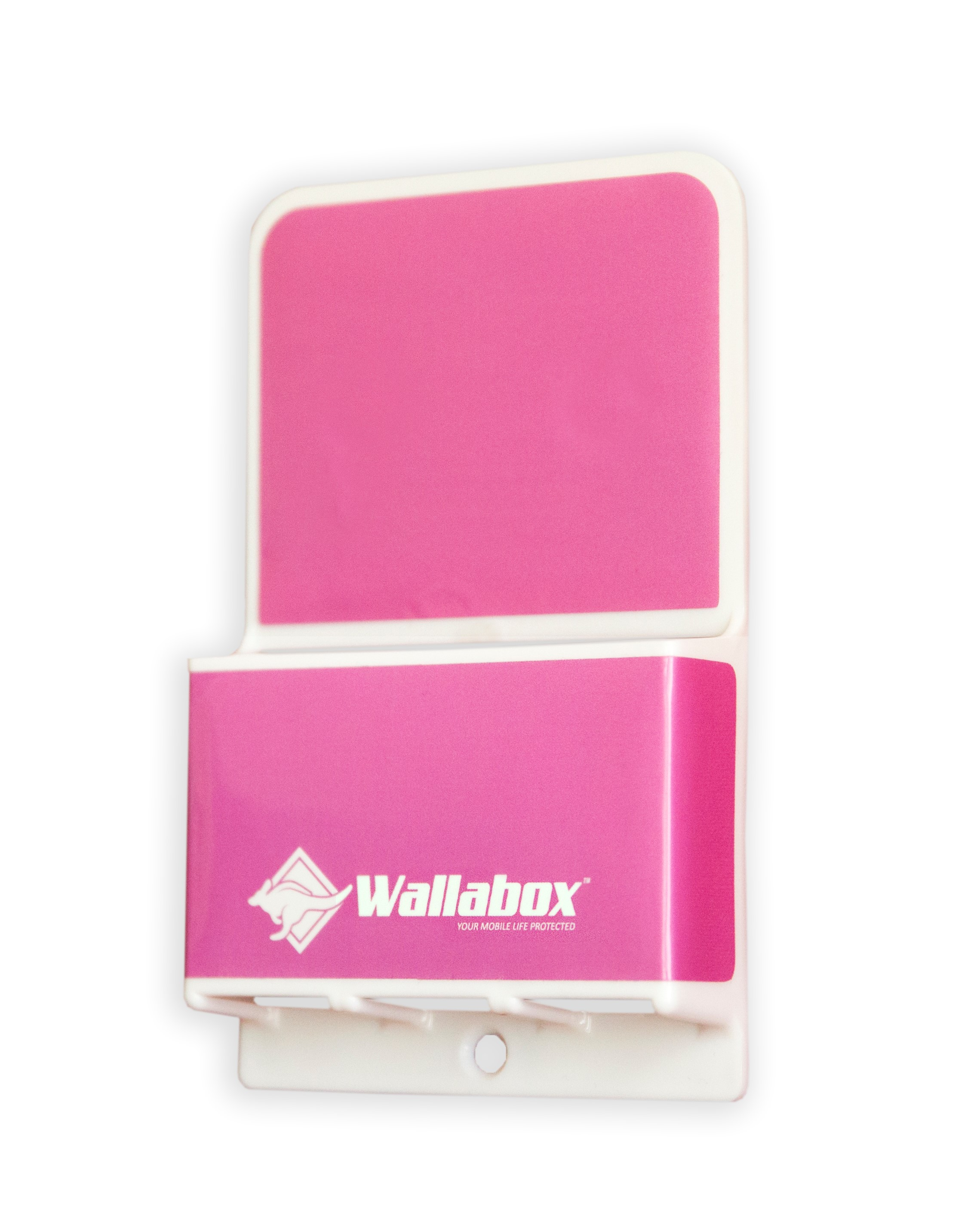 Universal Wall Mount Cell Phone Holder - In Hot Pink - Side View 2