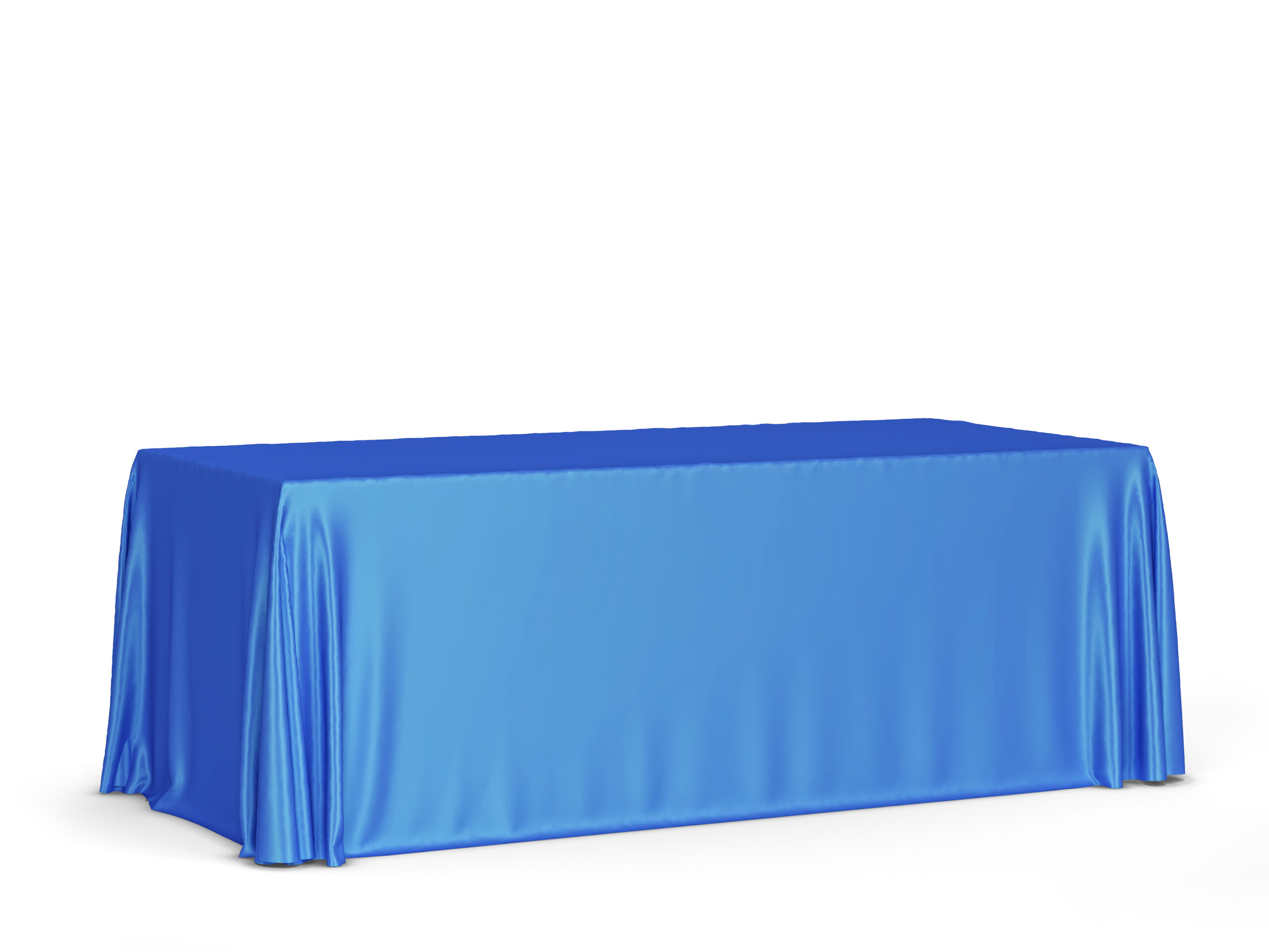 トレードショーのテーブルクロスのモックアップ。白い背景で隔離の3dイラスト