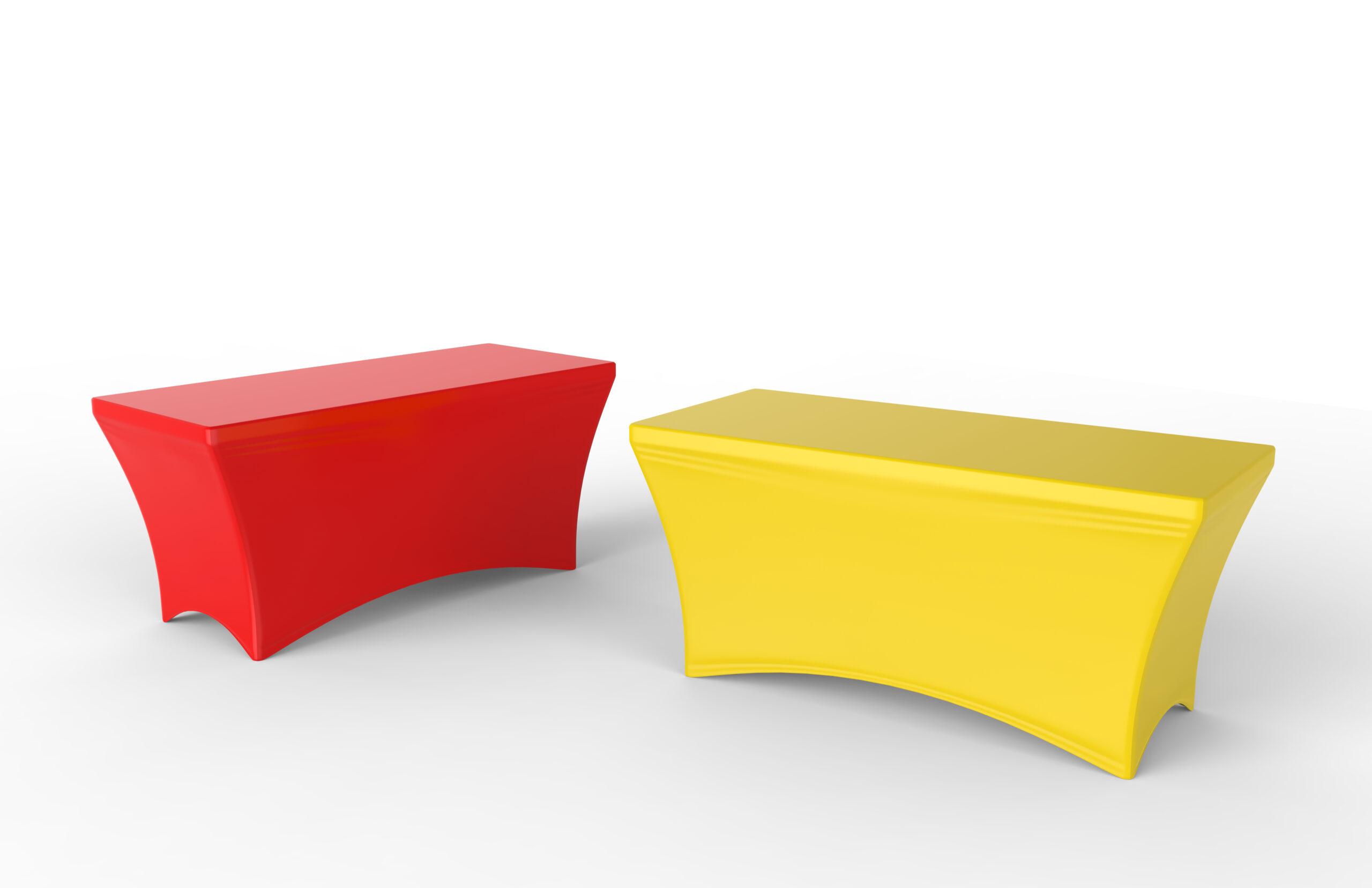 空白の展示会広告テーブルクロスはダイニングスパンデックステーブルカバーを使用しました。 3Dレンダリングイラスト。