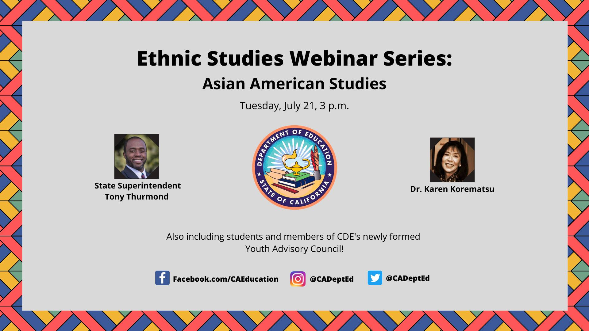 Ethnic Studies Webinar Series: Asian American Studies
