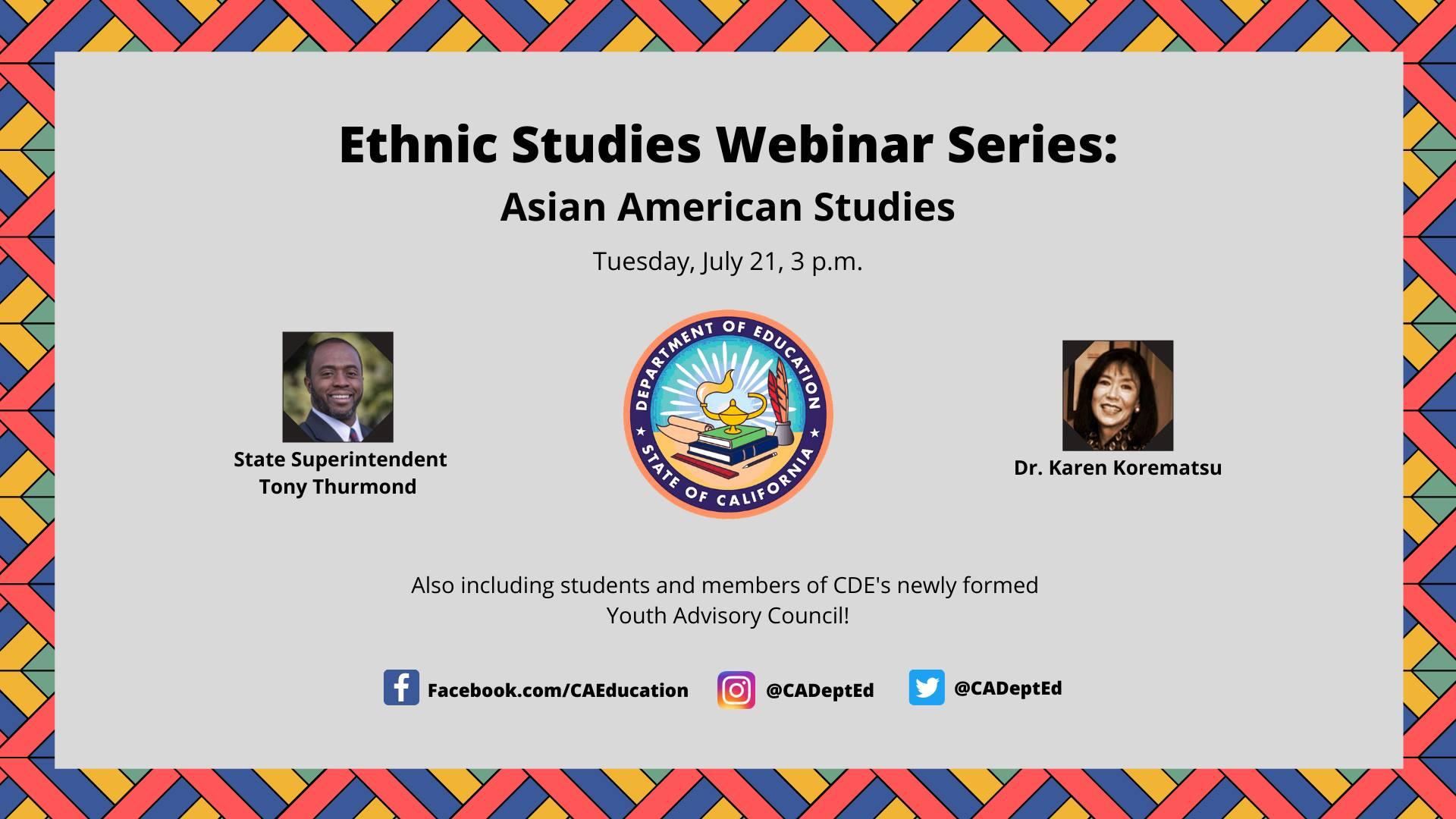 Ethnic Studies Webinar Series: Asian American Studies
