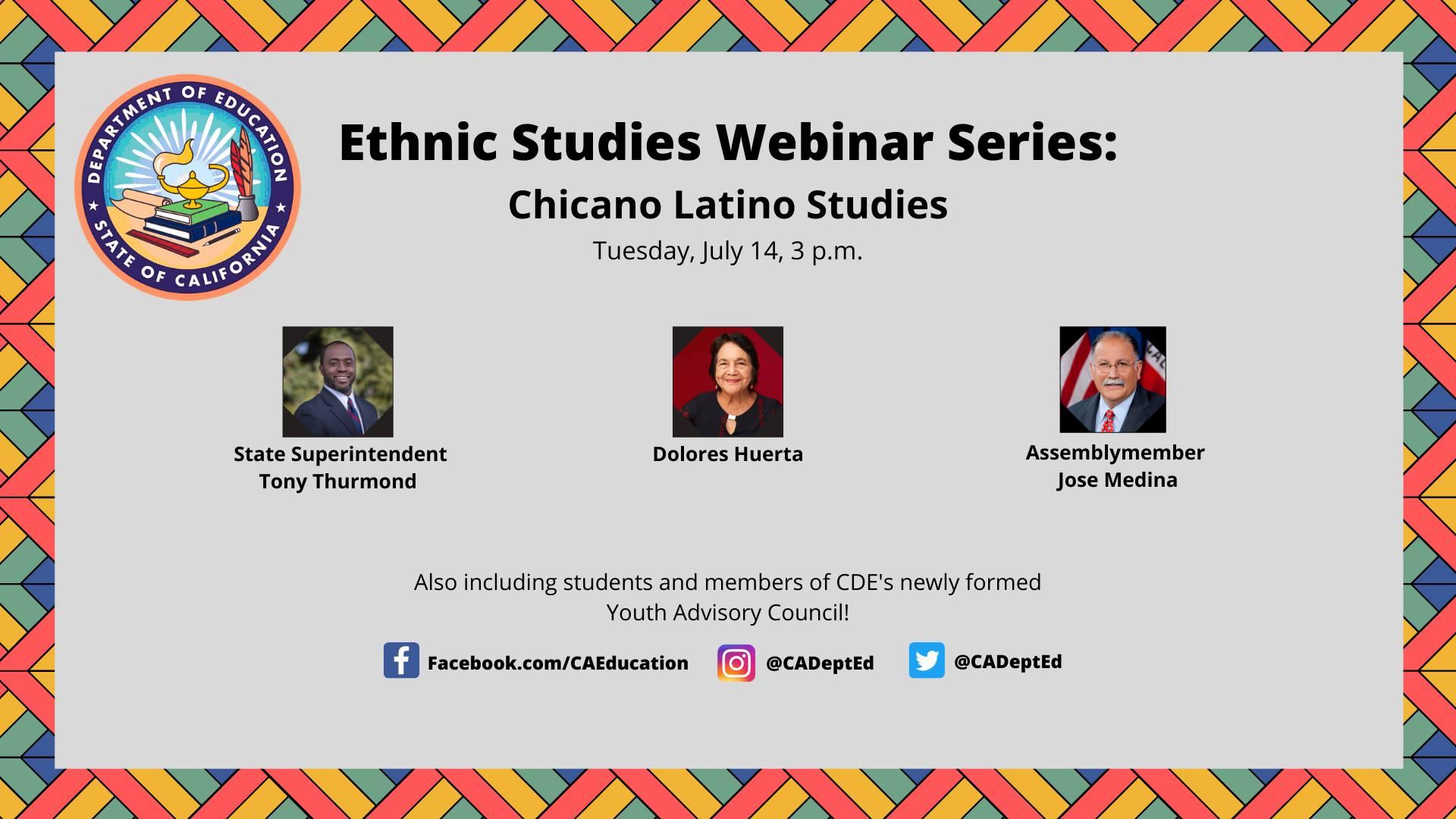 Ethnic Studies Webinar Series: Chicano Latino Studies