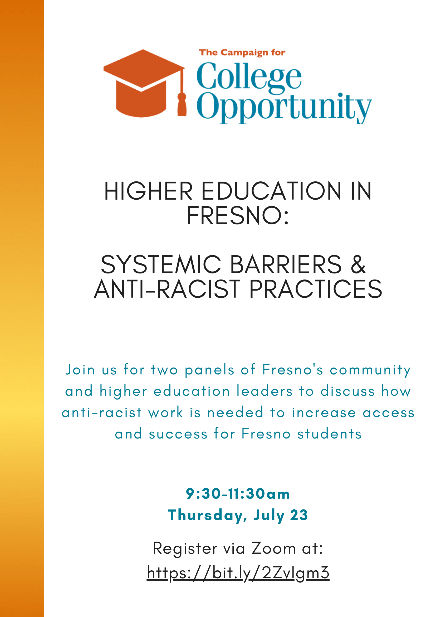 Fresno Higher Ed. Engagement Hub: Systemic Barriers & Anti-Racist Solutions to Access & Success
