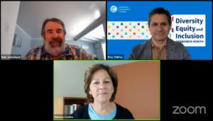 Picture of Zoom meeting with Robert Johnstone, Monica Lozano, and Eloy Ortiz Oakley