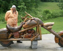 Hand Carved Wooden Motorcycle