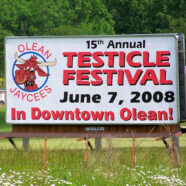 Olean Testicle Festival Sign