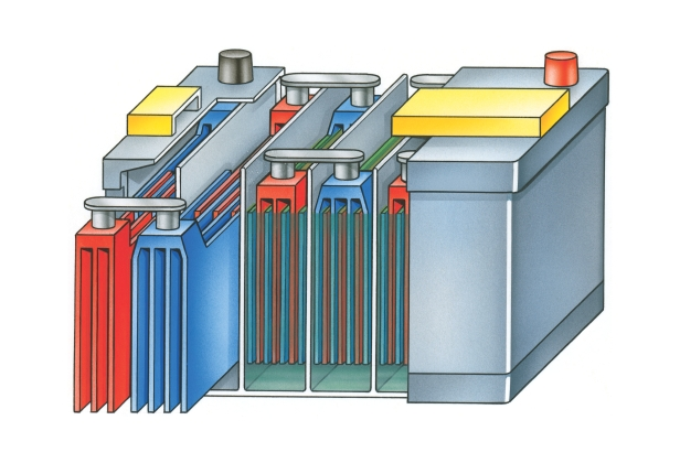 Illustration of lead acid car battery showing lead dioxide plate, lead plate and sulphuric acid