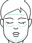 A graphic of a woman's face with marks on her forehead, under her eyes, and on her chin