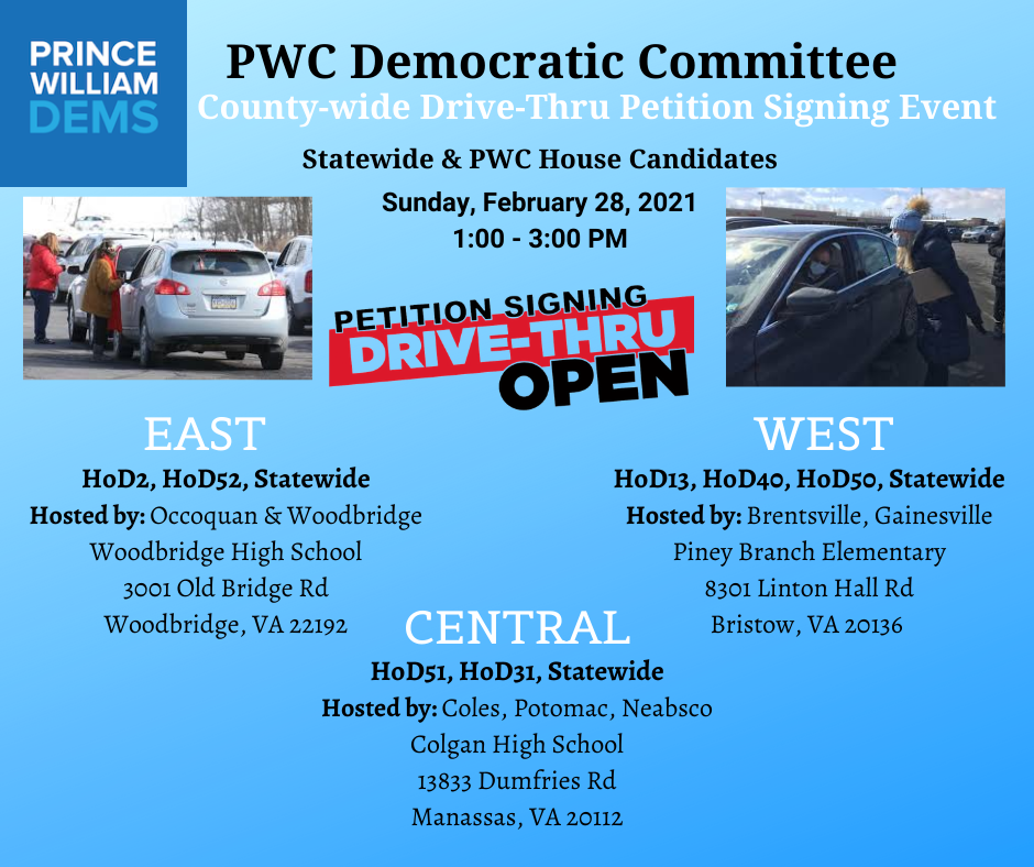 2021 Prince William County Democratic Committee Drive Thru Petition