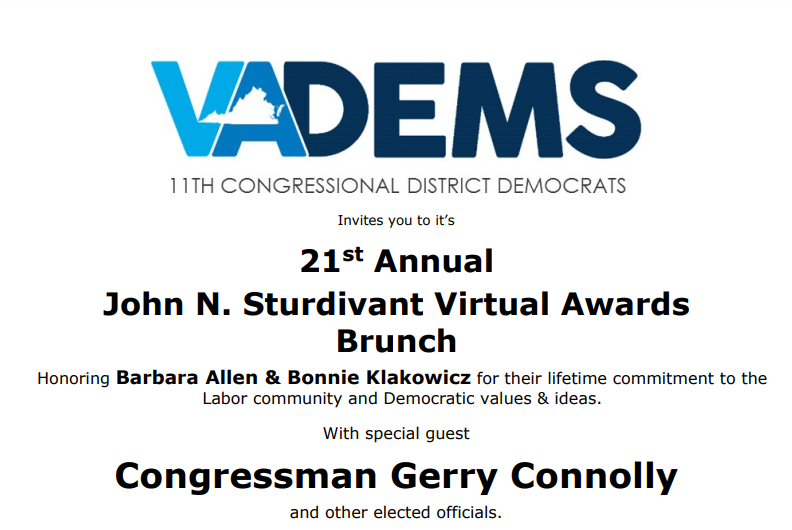 11th Congressional District Democrats and John Sturdivant Virtual Brunch Awards