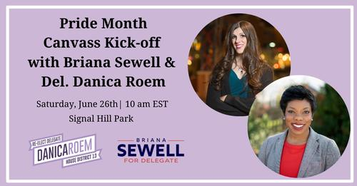 Pride Month Canvass Kick-Off with Briana Sewell and Delegate Danica Roem