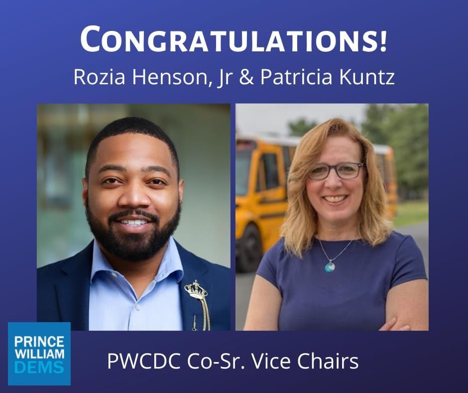Congratulations to Prince William County Democrats Co-Senior Vice Chairs