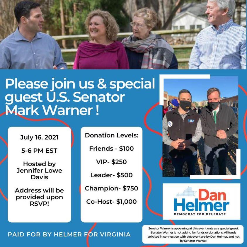 Meet Senator Mark Warner and help Dan Helmer return to the State House