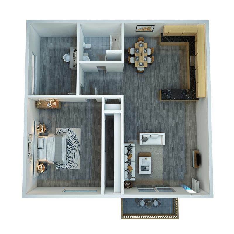 1 BED, 1 BATH WITH DEN Floor plan