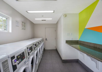 Twin Pines laundry room with geometric wallpaper