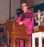Presiding at Convocation, Arkansas College, about 1986