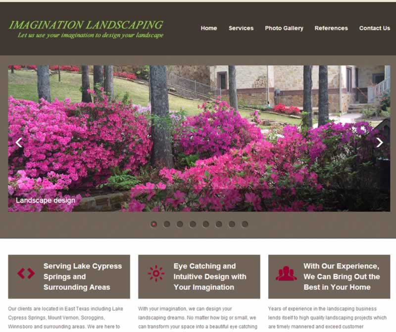 Imagination Landscaping web design and hosting