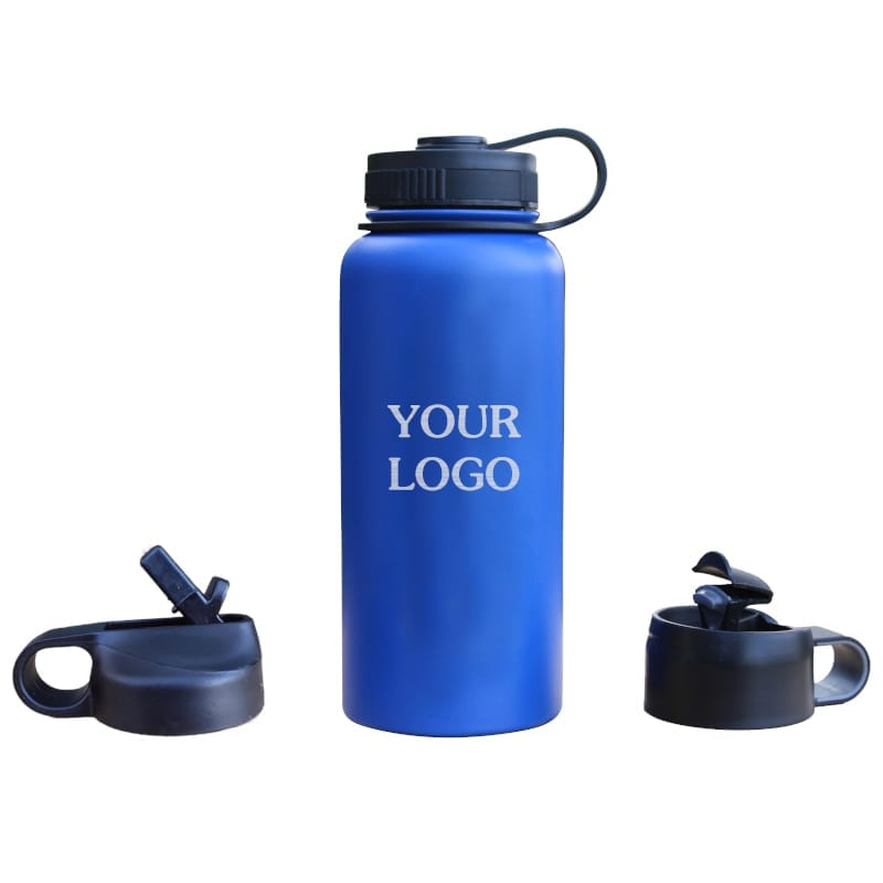 blue 32oz custom bottle