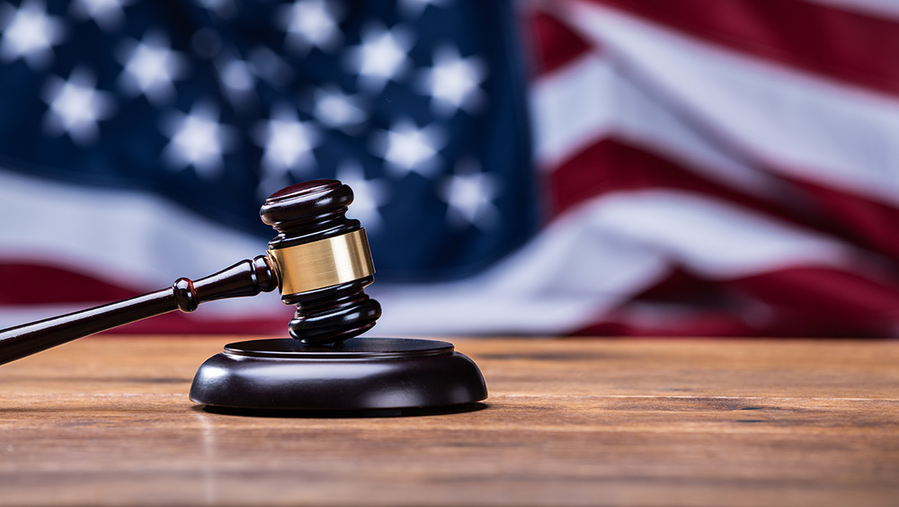 Gavel  In Front Of US Flag
