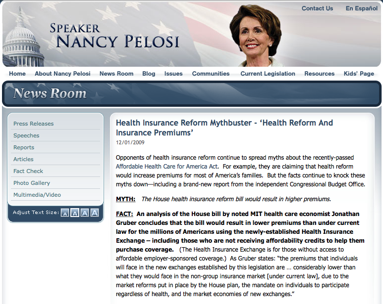 Speaker Nancy Pelosi website screen shot 12/1/2009. (archive uncovered by @dcdude1776)