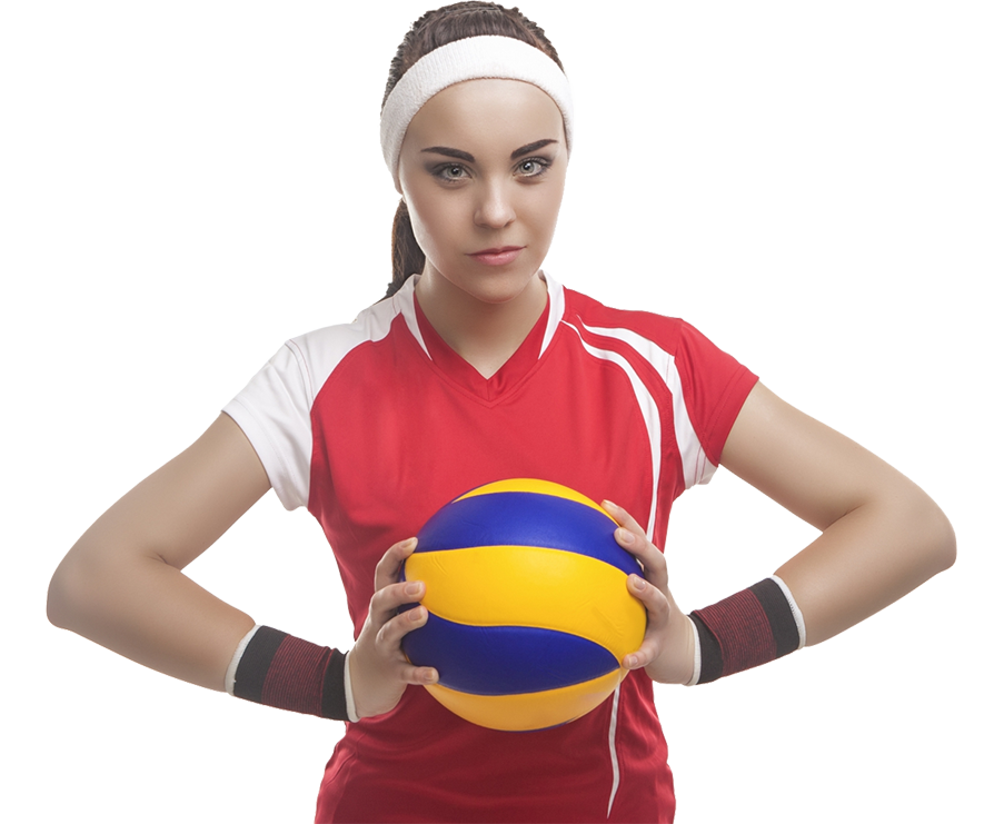 Image of a girl wearing a red shirt and white headband, holding a volleyball in the center of her chest.