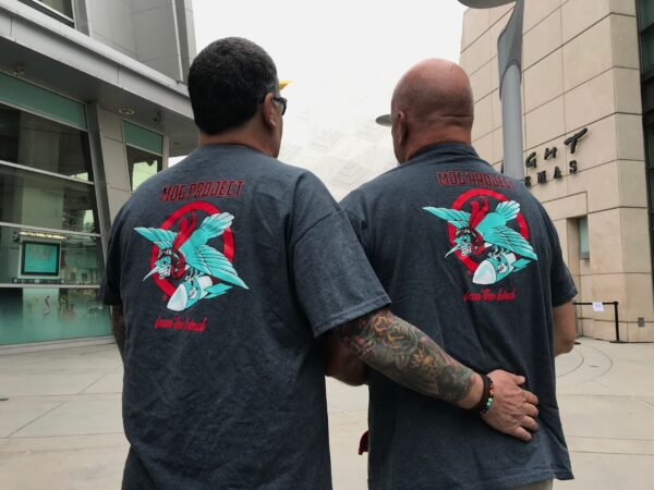 Jim and Kevin model our Fear the Bird T-Shirts