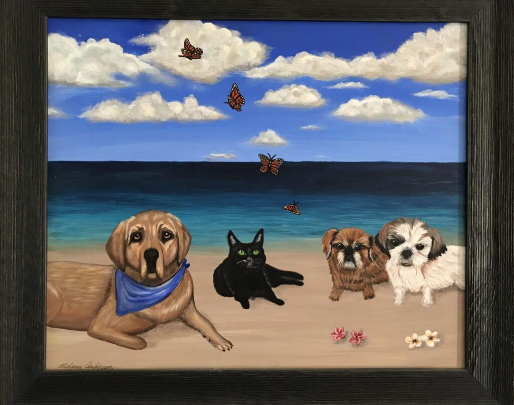 Beautiful painting of Newcastle and Andrea and James fur-family