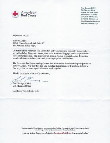 Hurricane 8 BACC Thank you letter from Red Cross