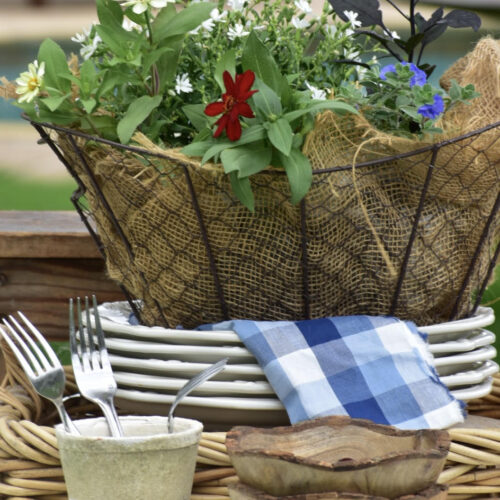 easy red white and blue garden basket