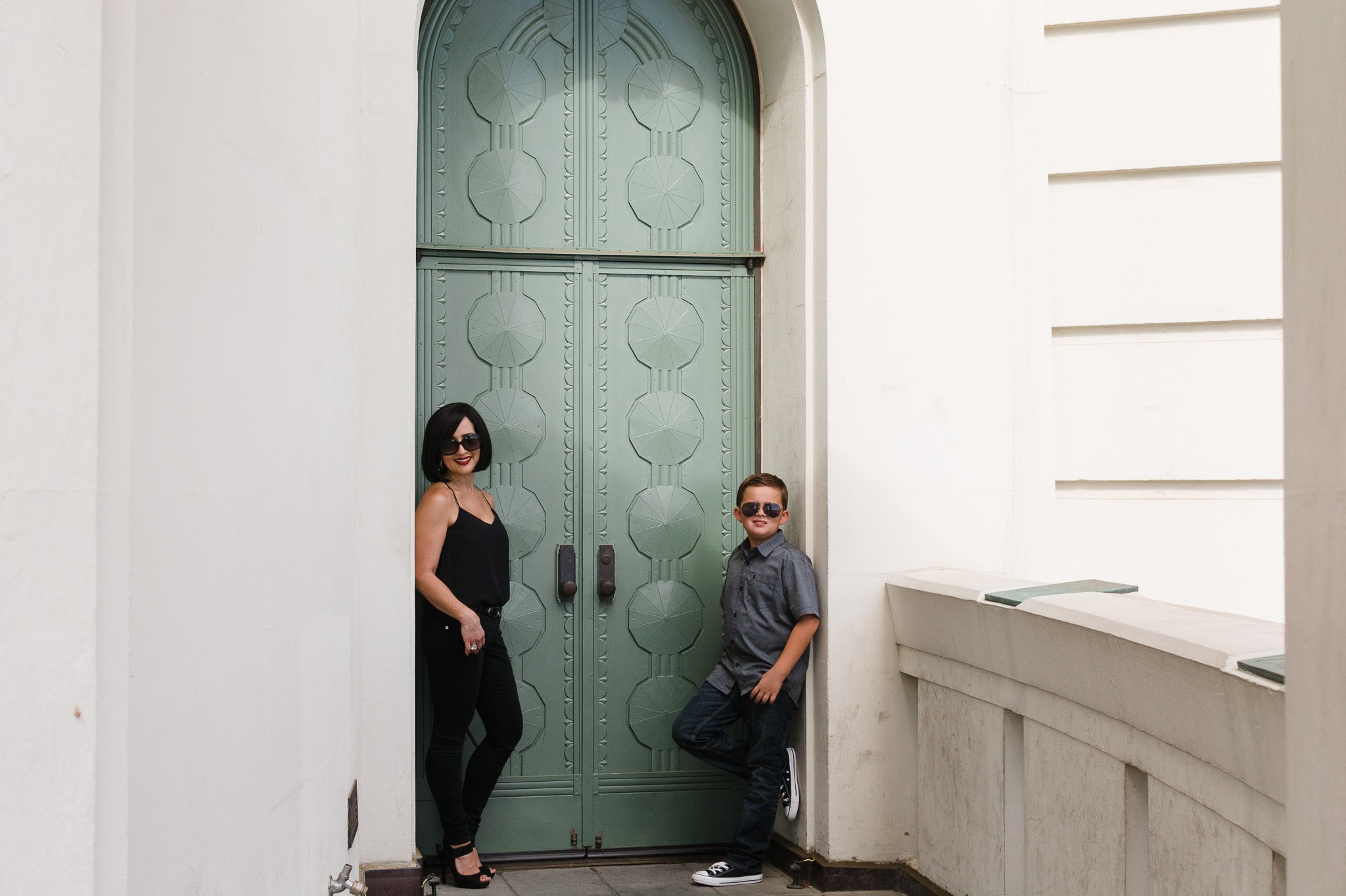 mom and son at griffith observatory candid family photography