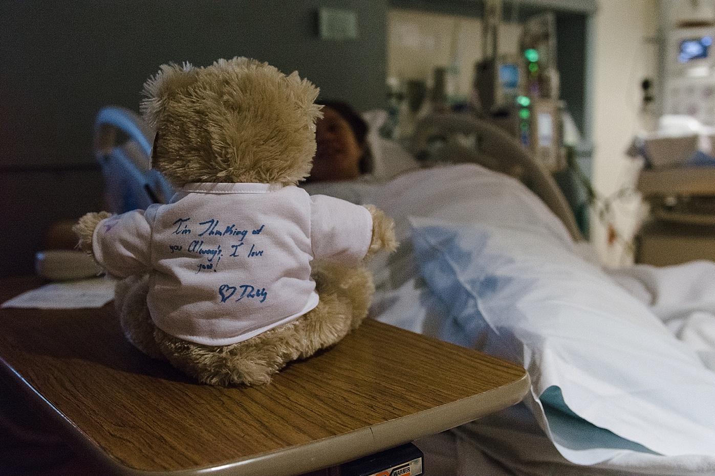 teddy bear in hospital room at baby birth