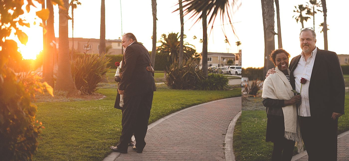 man and woman after proposal sunset seal beach captured grace by erin