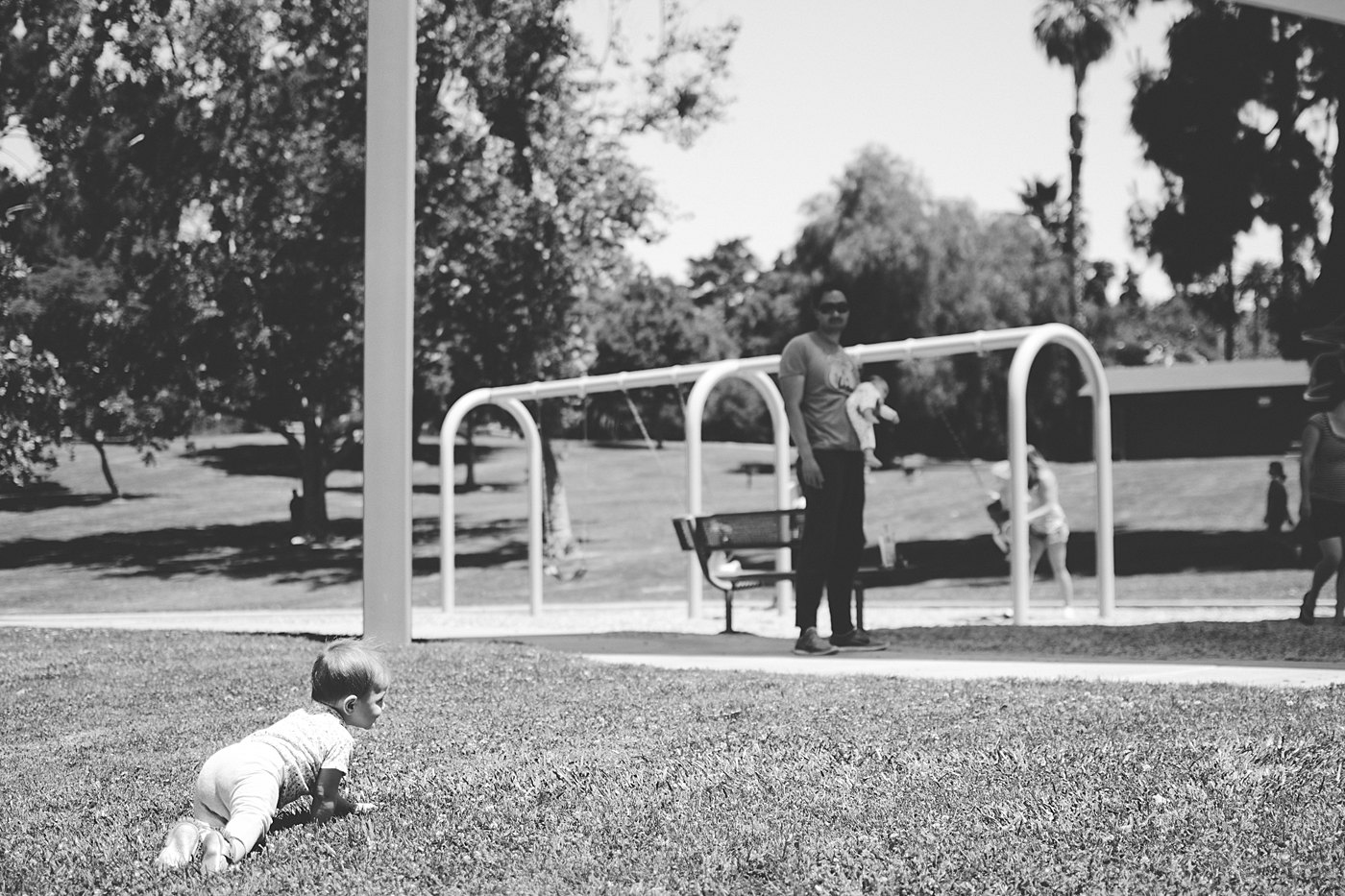 baby crawling towards park ford park redlands captured grace by erin family photography