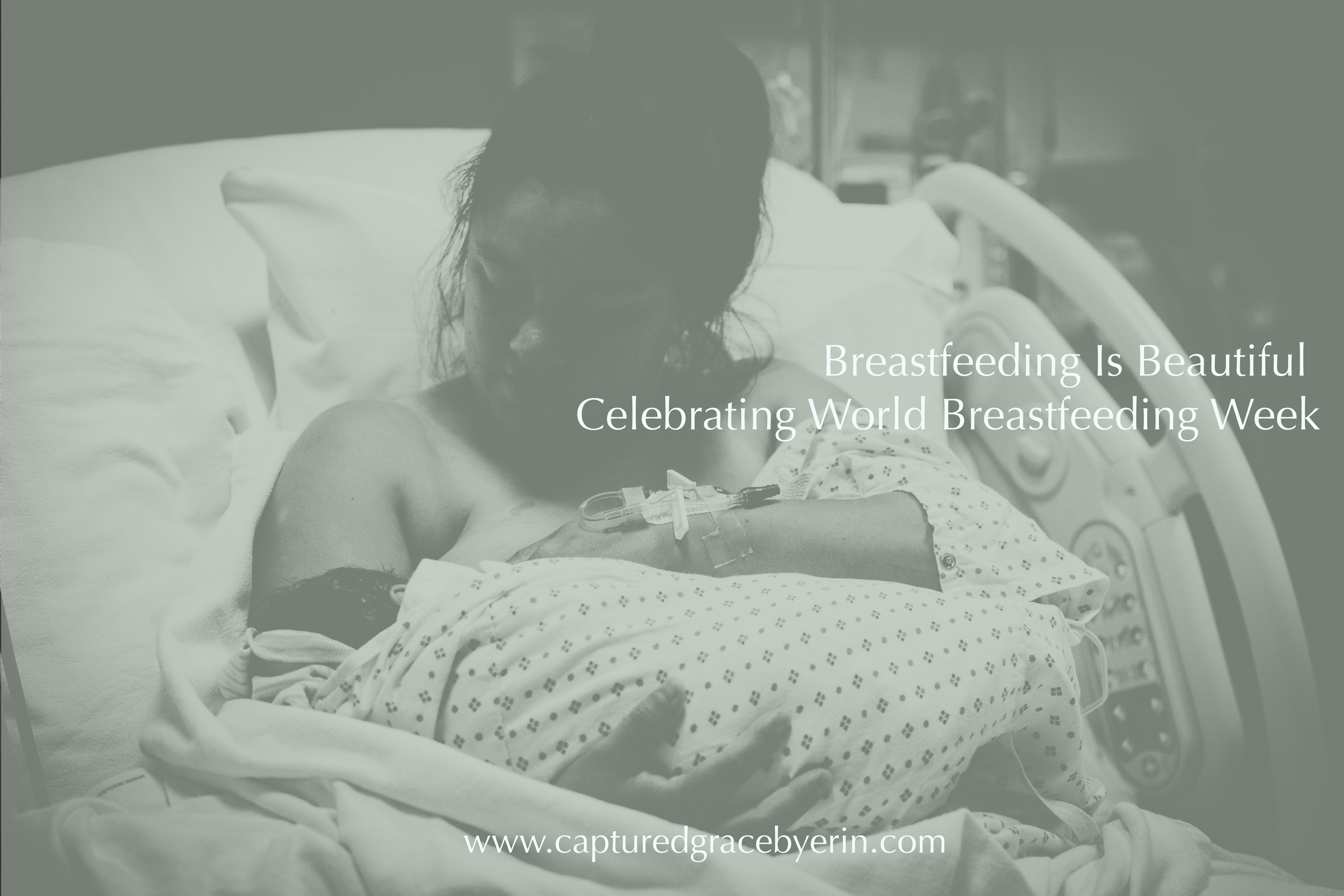 breastfeeding mom in hospital bed after birth redlands birth photography captured grace by erin
