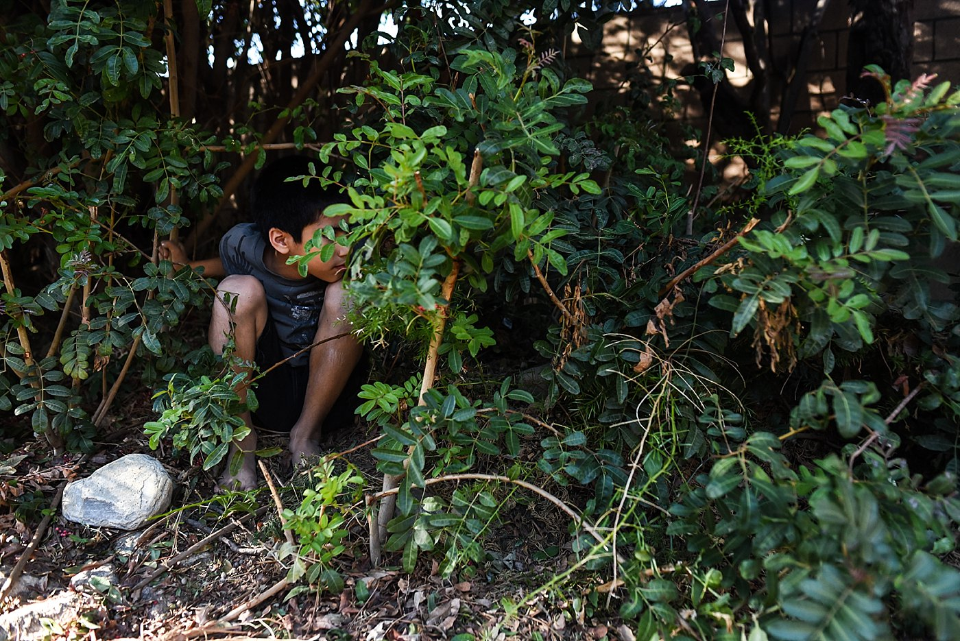 boys hiding in bushes redlands family photographer