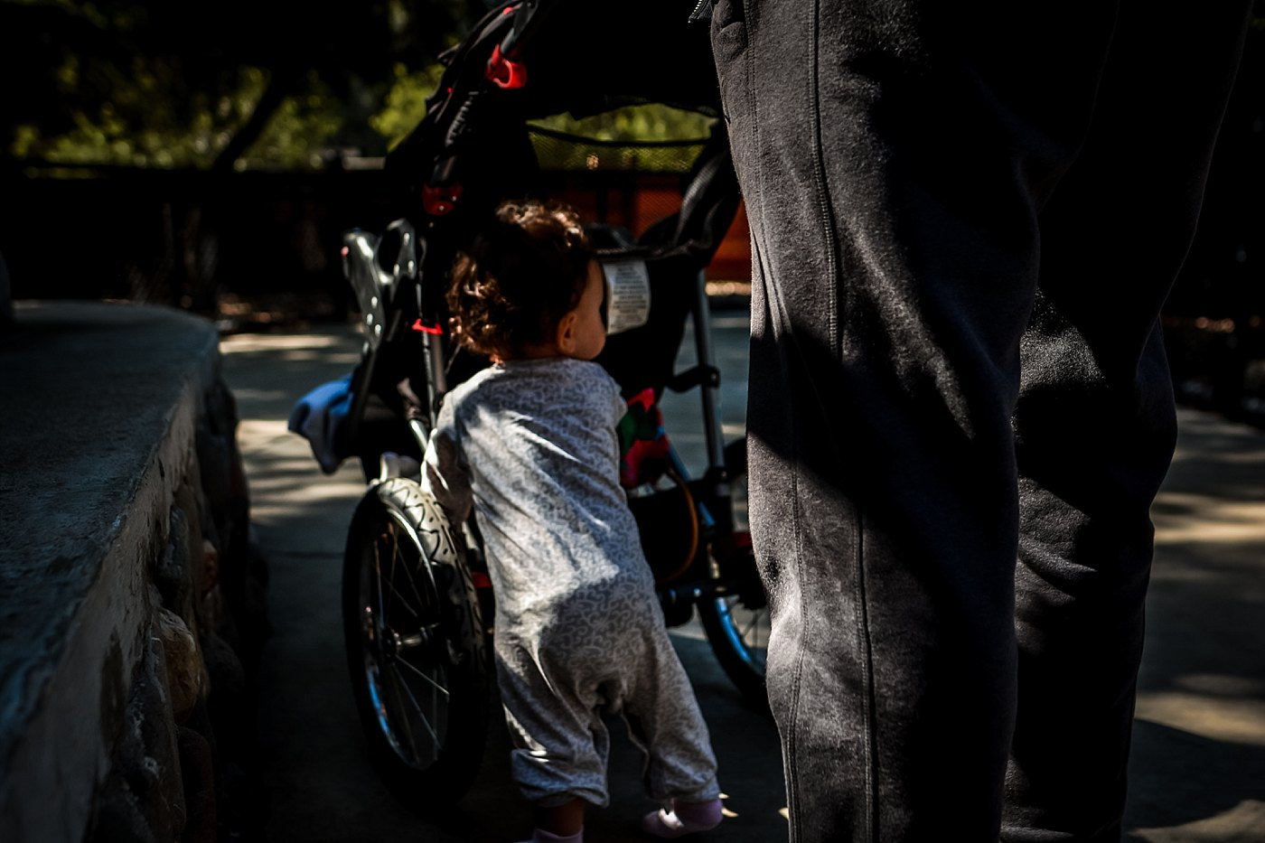 toddler pushing stroller orange county zoo redlands family photograper
