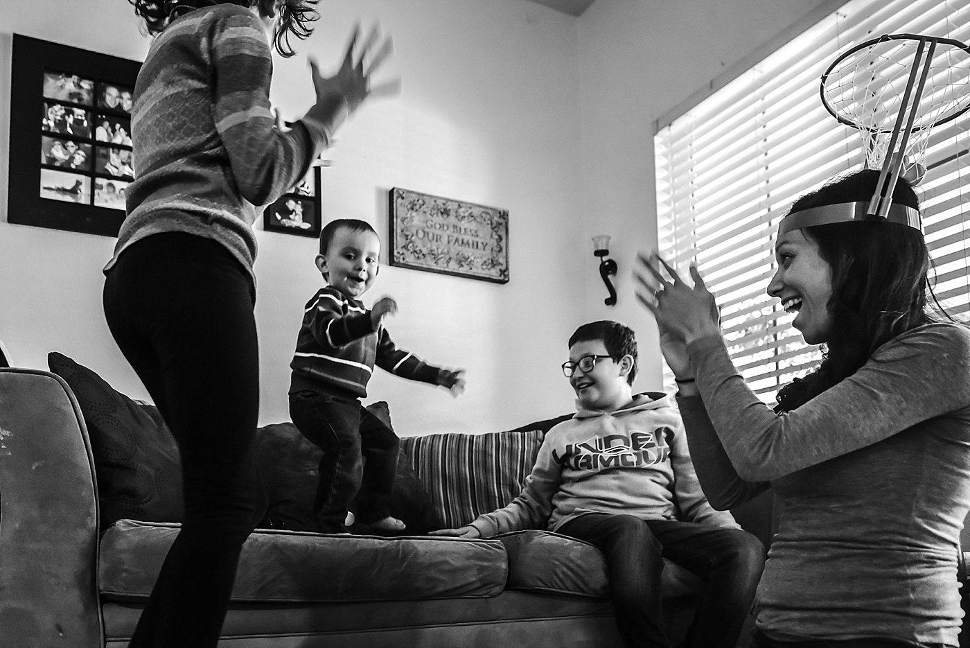 family playing game day in the life redlands family photography