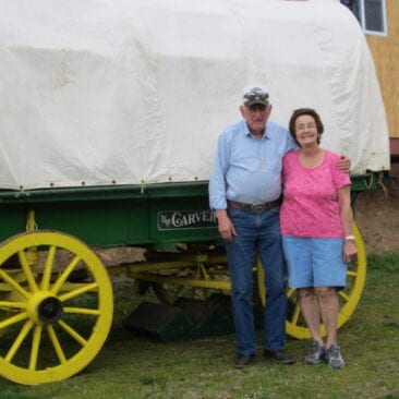 John & Gladys Garrett with Carver Covered Wagon