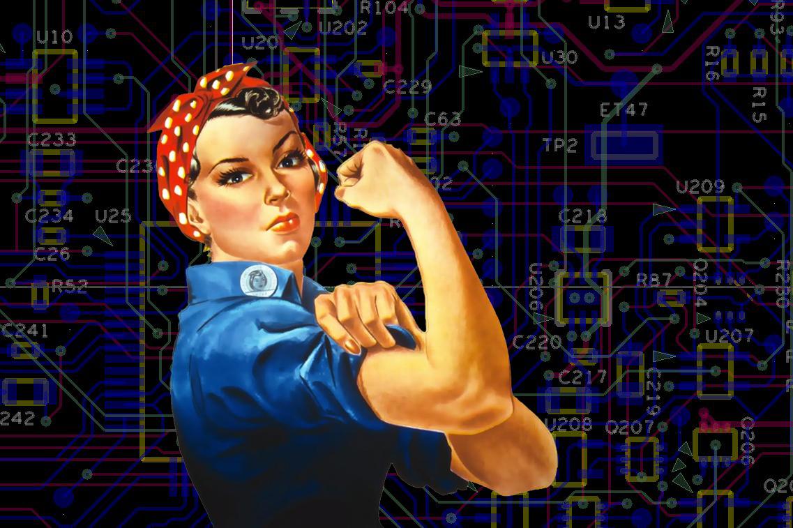 Woman flexing arm. Flexible Careers