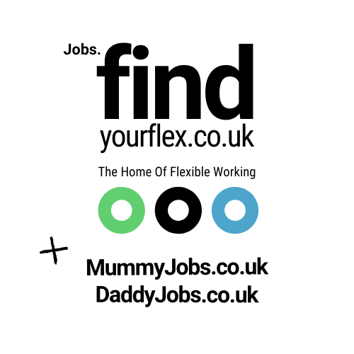 find your flex logos with mummyjobs.co.uk and daddyjobs.co.uk. Including three circles with brand colours.
