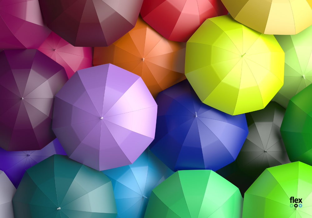 photo of different coloured umbrellas, representing diversity and inclusion