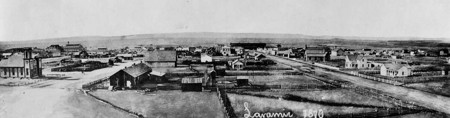 This is a drawing of the newly created town of Laramie, Wy. Laramie grew very quickly from a tent end of tracks town (a Hell on Wheels town) in a permanent and thriving community with the presence of the railroad.