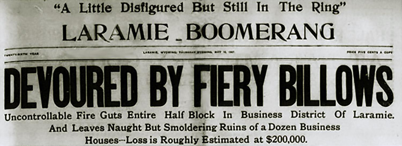 Headline, Laramie Boomerang, May 17, 1907