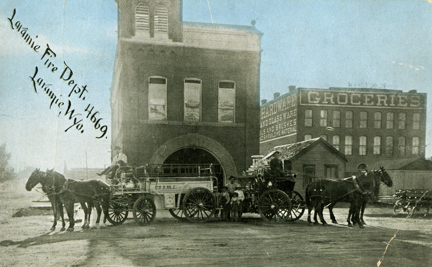 Laramie Fire Department, corner of 3rd and Custer, approx. 1911