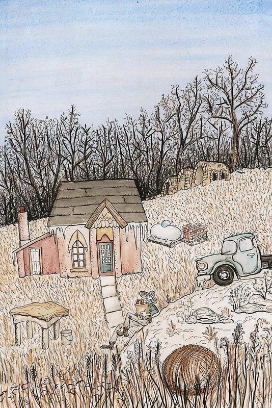 Middlemas' cabin in the woods - Artist's rendering