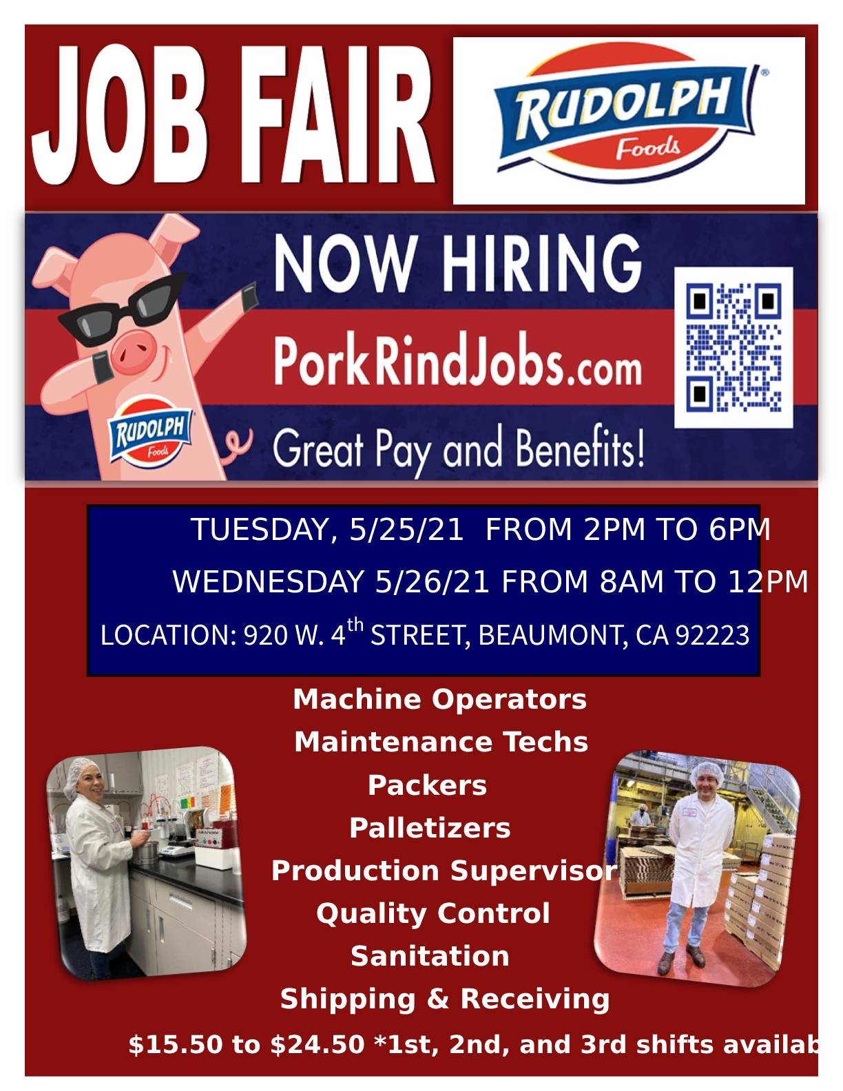 Rudolph Foods Onsite Job Fair on Tuesday, 5/25 and Wednesday, 5/26
