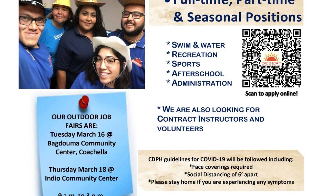 Upcoming Job Fair Desert Recreation District