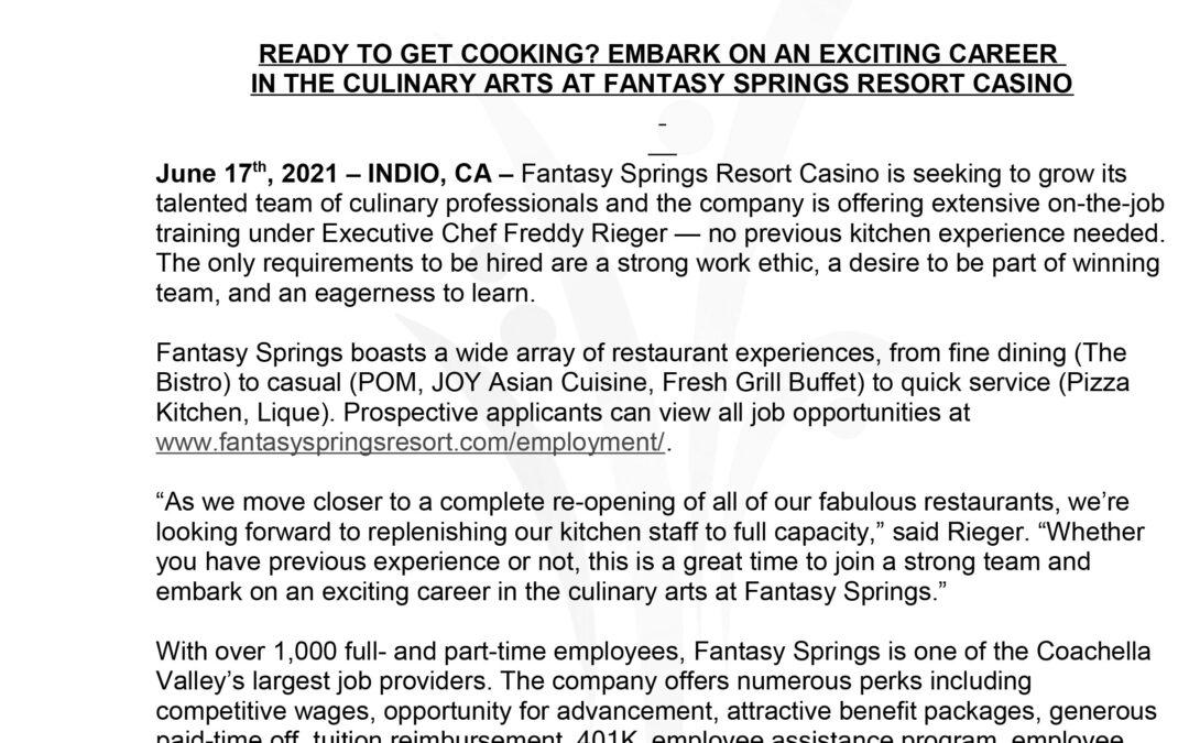 Employment Opportunity-Fantasy Springs Resort Casino