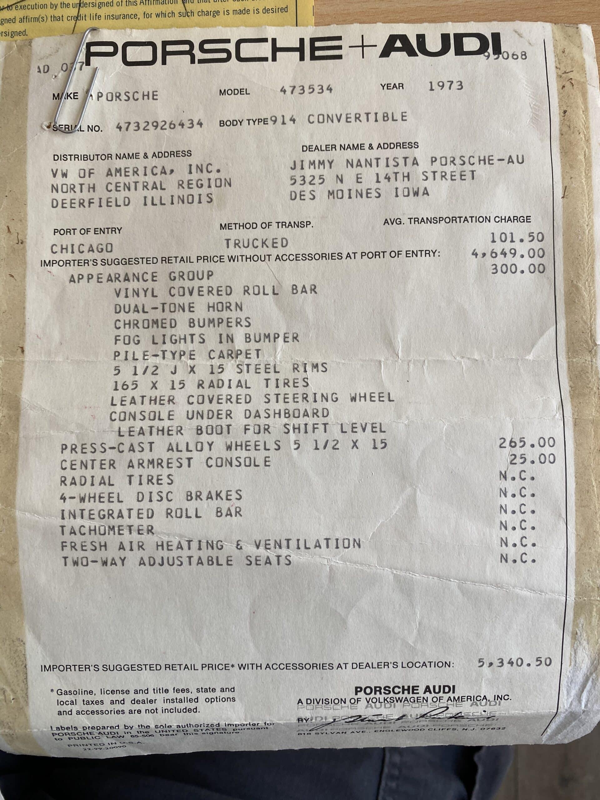 1973 Porsche 914 1 OWNER – 13,995 ACTUAL MILES -ORIGINAL PAINT – TIME CAPSULE OLYMPIC BLUE – SURVIVOR – ORIGINAL TITLE