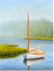 'Catboat at Anchor' Oil painting by Brian Powers, Guild of Harwich Artists